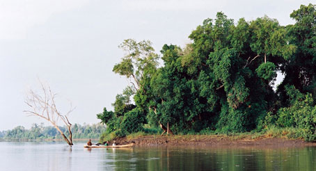 Villagers canoeing on the Rufji Delta