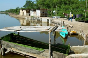 Shrimp farm near Huaquillas, where Ecuadorian shrimp farming began.