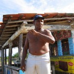 "Angry fisherman at Porto do Céu protests what shrimp farms have done to the ""gates of paradise."""