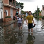 Walking to work Parnaíba-style. Jeremy and Elaine negotiate the floodwaters outside our pousada.