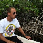 Grant Johnson among the mangroves of North Bimini.
