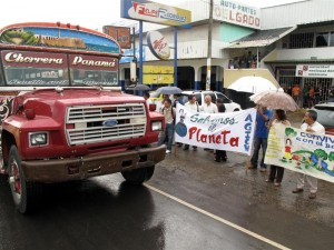 Environmental campaigners on the Pan-American highway.